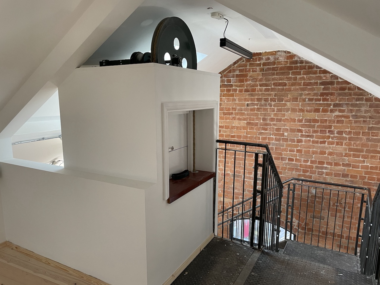 Interior view of the new Reading Room showing the stairs and the dumbwaiter
