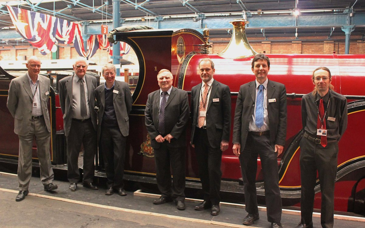 The Signatories in front of the NRM's Midland Spinner