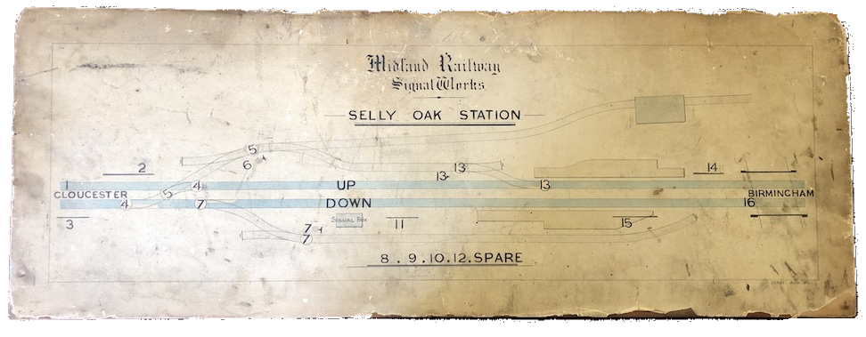 A signal box diagram for Selly Oak Station