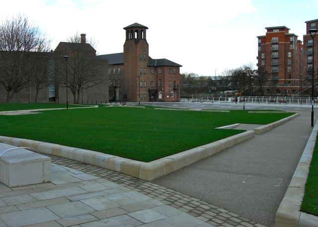 A view across Cathedral Green from the city centre side looking over to the Silk Mill front door